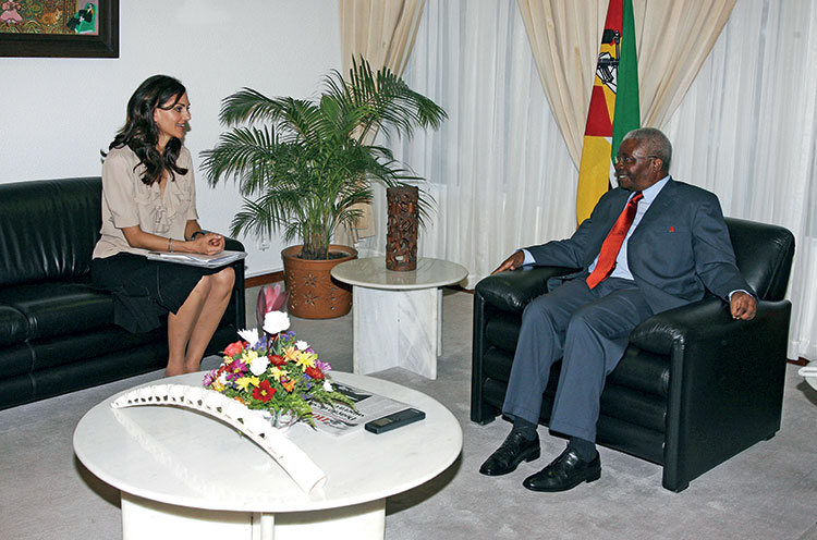 Visiting and meeting with Armando Guebuza, President of the Republique of Mozambique